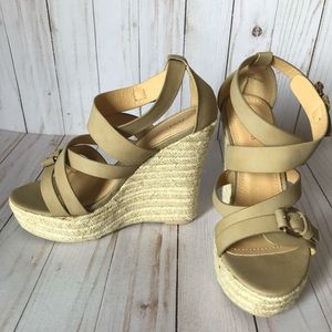 JUSTFAB tan wedges, NWOT size 8